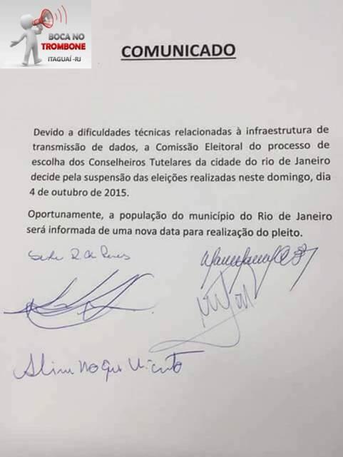 Comunicado da suspensão da eleição no município do Rio de Janeiro