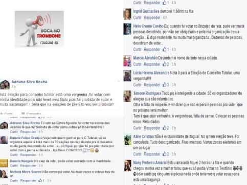 Vários relatos no grupo BOCA NO TROMBONE no Fcaebook sobre problemas no dia da votação