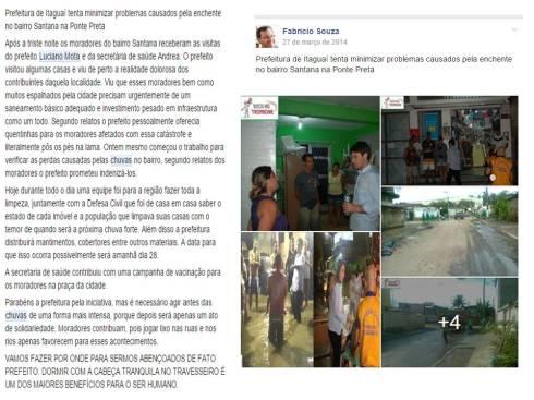 Matéria de março de 2014 no grupo BOCA NO TROMBONE no Facebook