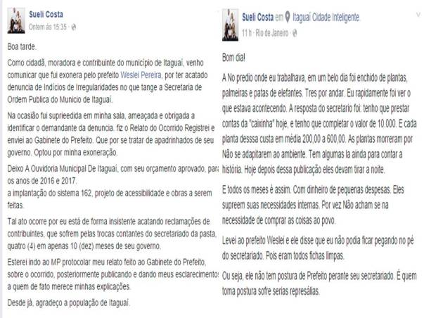 Relato de Sueli em seu perfil no Facebook